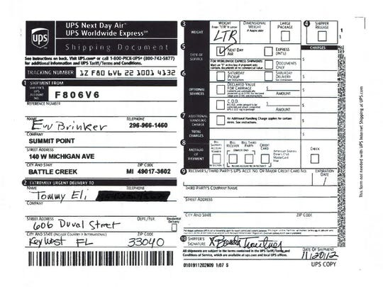 A copy of a UPS receipt for Summit Pointe's $265,000 payment to Tommy Eli on Nov. 20, 2012.