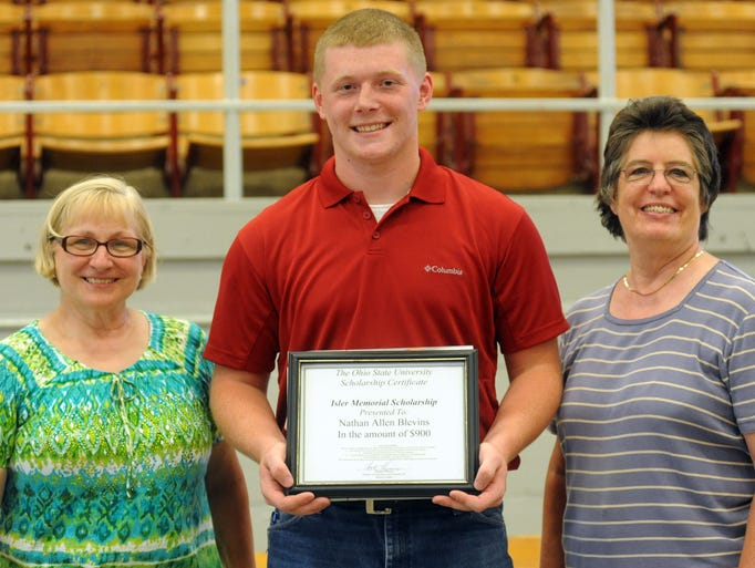 Nathan Blevins was presented the John F. Isler Memorial Scholarship during the 2014 Marion County Junior Fair Night Monday evening, June 30, 2014, in the Veterans Memorial Coliseum.