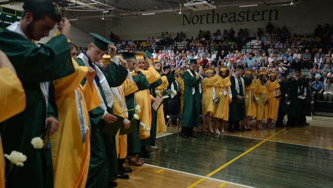 Seniors attend the Northeastern High School class of 2015 commencement ceremony Friday, May 29, 2015, in Fountain City.