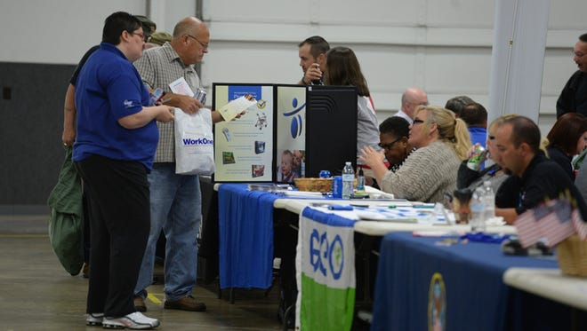 Veterans attend the Eastern Indiana Veteran Resource Fair Thursday, Oct. 15, 2015, at Kuhlman Center in Richmond.