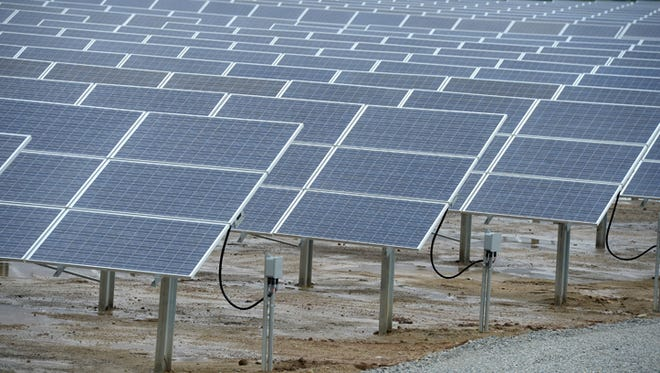 Around 4,000 solar panels track the sun as they turn light into electricity at Richmond Power & Light. The utility company hosted a ribbon-cutting ceremony Friday, Aug. 22, 2014, to officially open the IMPA Richmond Solar Park at RP&L.