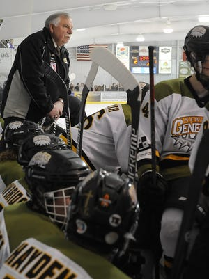 Newark Generals' head coach Don Jennings on the bench during the Generals 6-1 victory against the Prowlers on senior night at Lou & Gib Reese Ice Arena.