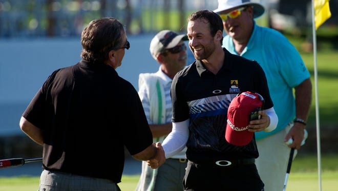 Web.com Tour pro Ben Silverman, center, shakes hand with fellow players during the Calhoun's Pro-Am Classic of the News Sentinel Open Presented by Pilot on Wednesday, August 16, 2017.
