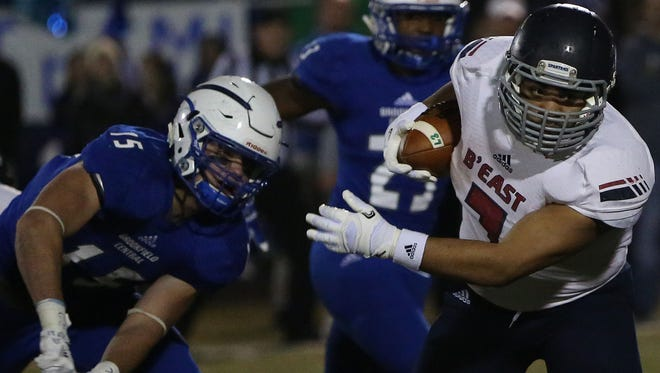 Brookfield East senior running back Sam Santiago-Lloyd has gained at least 150 yards in each playoff game and is averaging 168 yards and 6.2 yards per carry in the playoffs.