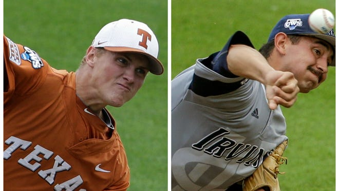 Texas' Nathan Thornhill (left) or UC Irvine's Andrew Morales would start against Vanderbilt on Friday.