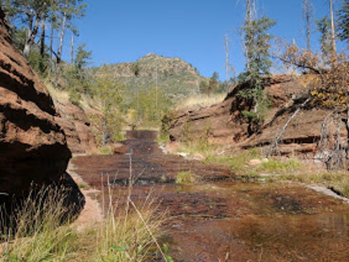 Dude Creek flows over the Highline Trail north of Payson.