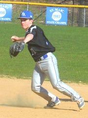 North Arlington shortstop Joe Witt throwing to first