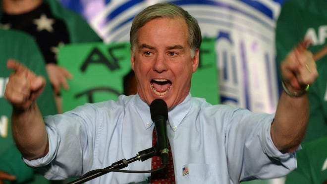 Democratic presidential candidate Howard Dean addresses leaders of the American Federation of State, County and Municipal Employees on Saturday in Des Moines in November, 2003.