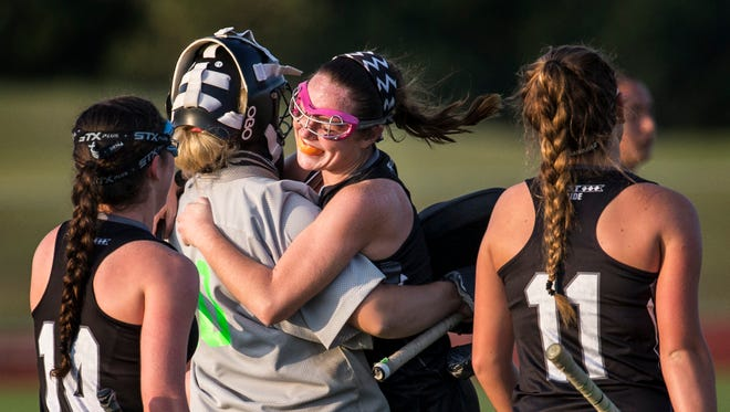 Sussex Tech's Bridget Johnson hugs her goalie Macey Mitchell as she celebrates celebrates as time expires after scoring Sussex Tech's only goal in the second half of their 1-0 win over St. Georges at St. Georges Technical High School on Wednesday afternoon.
