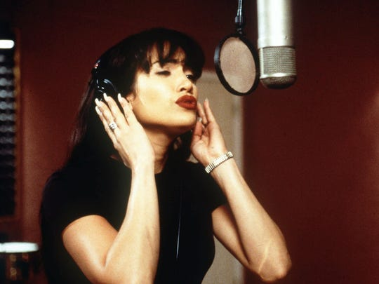 "Actress Jennifer Lopez as the Tejano singer Selena Quintanilla in this scene from the biographical drama, ""Selena."""