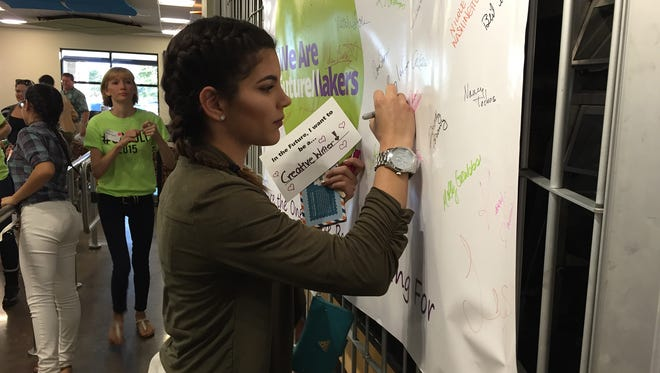 """Rachel Valdes-Moya, a student at Clewiston High School, signs up for the FutureMakers Coalition and regional action teams in her community, giving her """"a student voice at a bigger level."""""""
