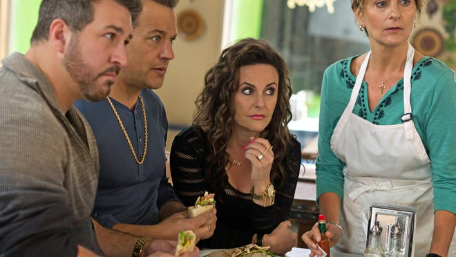 """Joey Fatone, from left, Louis Mandylor, Gia Carides and Stavroula Logothettis are seen in """"My Big Fat Greek Wedding 2."""""""