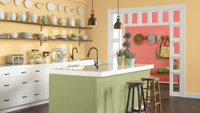 Sherwin-Williams' Color of the Year kitchen is painted in the colors of Hubbard Squash and Coral Reef. Lighthearted yet sophisticated, it's got a tropical vibe but looks good in northern light as well.