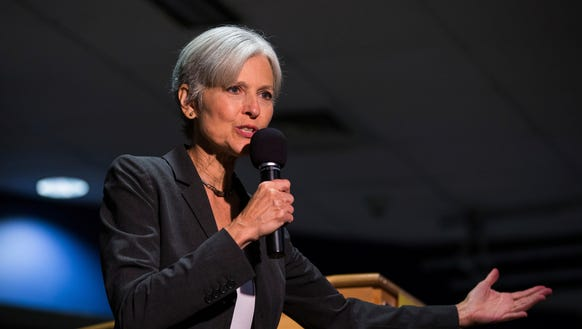 Green Party presidential candidate Jill Stein delivers