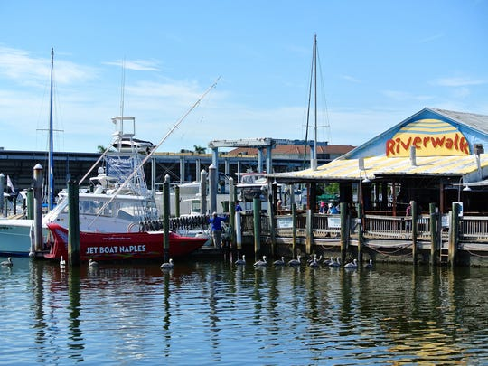 Riverwalk Restaurant at Tin City in downtown Naples overlooks the Gordon River, which eventually spills into the Gulf of Mexico. Boaters can dock and dine there, and others can rent boats or take a sunset cruise from Pure Naples to do the same.