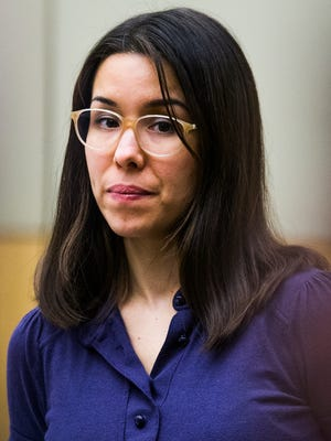 Jodi Arias looks around Dec. 15, 2014, in Maricopa County Superior Court in Phoenix during her sentencing retrial.
