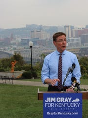U.S Senate candidate and Lexington Mayor Jim Gray discusses the importance of funding infrastructure such as the Brent Spence Bridge at Devou Park in Covington on Oct. 19, 2016.
