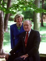 John and Barbara Willke  in the garden of their Finneytown home in 2000.