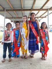 The Donne queen and princesses pose in front of the camera at the Mangilao Donne Festival in Mangilao on Sept. 13.