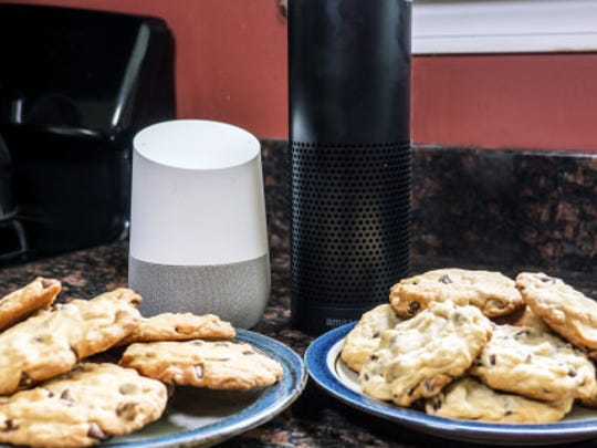 Google Home (l) and Amazon Echo (r) are frequent cooking companions.