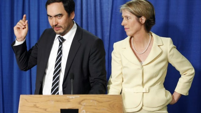 Tim Wu, Democratic candidate for lieutenant governor, with Zephyr Teachout, his running mate, announcing their candidacy in Albany on June 16.