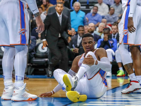NBA: New Orleans Pelicans at Oklahoma City Thunder - Russell Westbrook's Teammates React To Ugly Injury