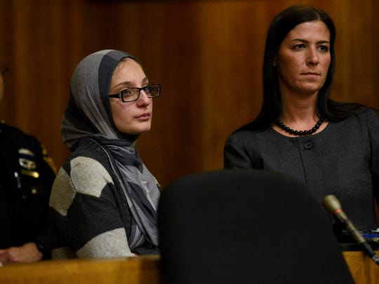 Former substitute teacher Linda Hardan, left, of Prospect Park, with her attorney Alissa Hascup at Monday's sentencing.