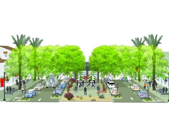 A view of how San Pablo Avenue, north of Highway 111, would look under changes proposed in the city of Palm Desert's General Plan update. Construction on phase one of the city's new downtown is set to begin in early July 2019.