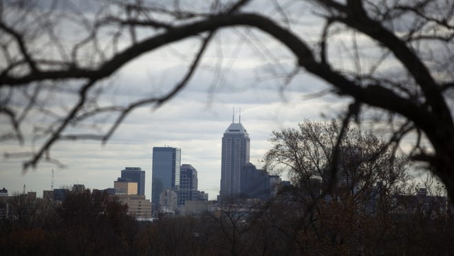 The Indianapolis skyline as seen from Crown Hill Cemetery on Halloween 2012.