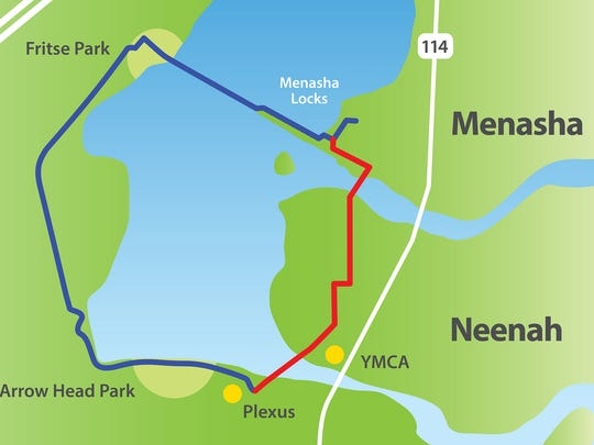 Neenah and Menasha are working to complete a trail that would loop the southern half of Little Lake Butte des Morts. The blue section of the trail is done. Plans call for the red section to be built this year.