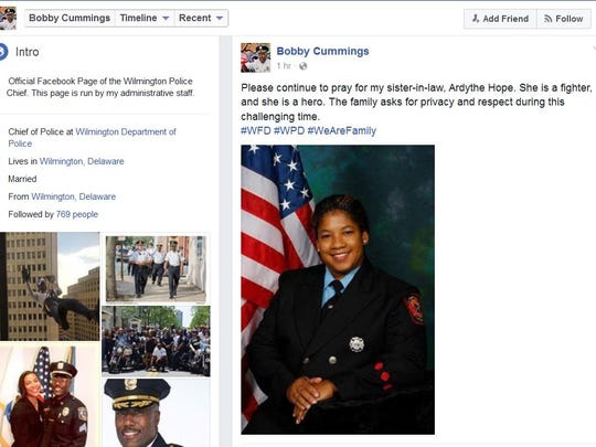 Wilmington police Chief Bobby Cummings asked for prayers and privacy for his sister-in-law, Ardythe Hope - one of the four city firefighters injured in Saturday's deadly fire.