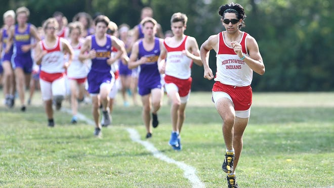 Mario Zito of Northwest broke to the front early and went on to win in a cross country match with Jackson, Aug. 27, 2020.