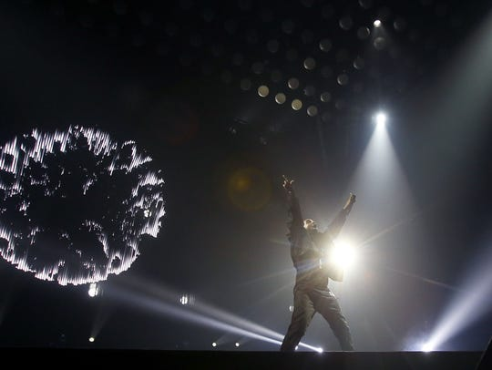 Drake performs during his Summer Sixteen Tour on Tuesday,