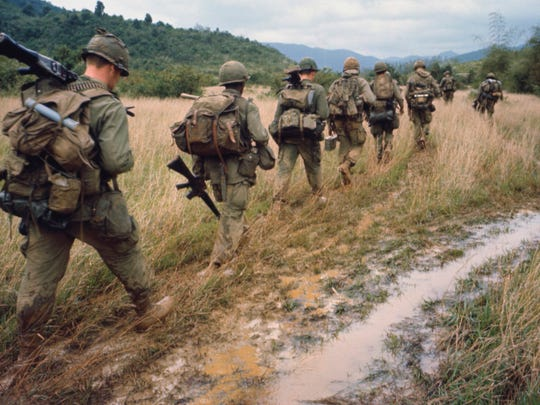 "Soldiers on patrol during the Vietnam War.  Ken Burns and Lynn Novick's 10-part film, ""The Vietnam War,"" recently aired on PBS, inspiring a look at Vietnam books."