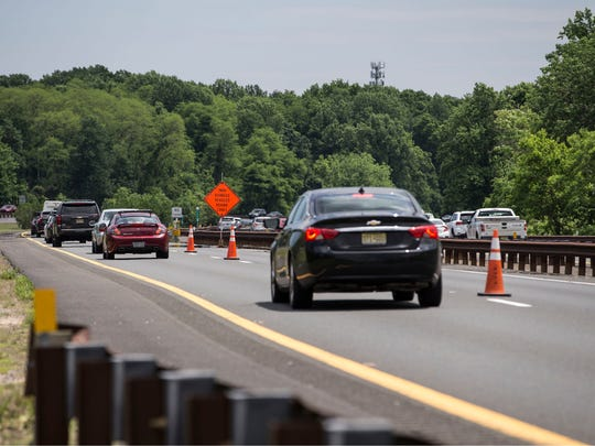 Garden State Parkway southbound at mile marker 112. Lane is blocked off due to a sinkhole down the road.Middletown, NJWednesday, June 6, 2018@dhoodhood