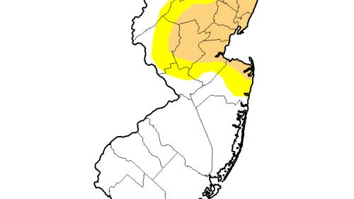 The beige area is in a moderate drought and the yellow area is abnormally dry (Source: U.S. Drought Monitor)