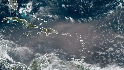 A plume of Saharan dust makes its way to the U.S. on Monday.
