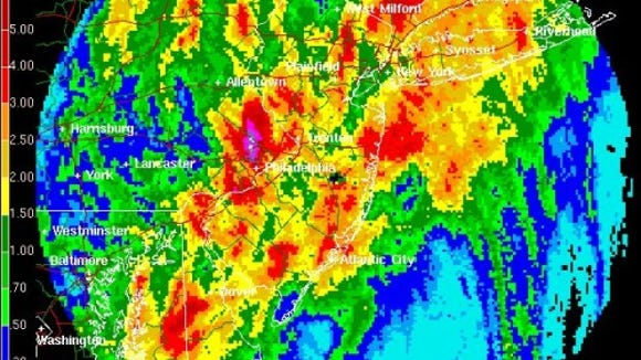 Total rainfall from Tropical Storm Allison on June 17, 2001