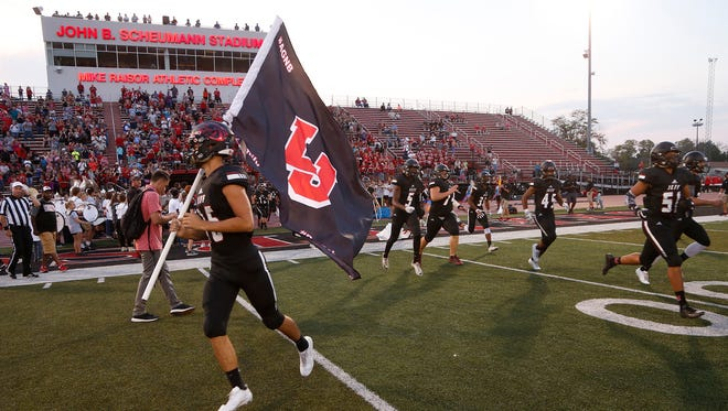 The Bronchos take the field to face Marion Friday, September 22, 2017, at Scheumann Stadium. Jeff defeated Marion 37-31.