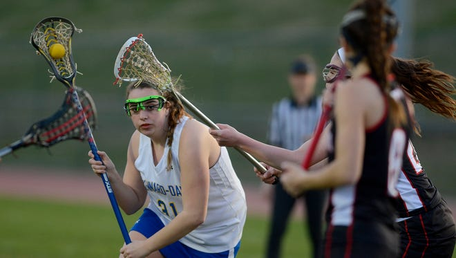 Autumn Kramer, left, seen here in a file photo, scored the game-winning goal on Tuesday for Kennard-Dale.