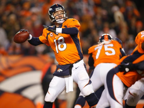 Denver Broncos quarterback Peyton Manning (18) passes the ball during the first half against the San Diego Chargers at Sports Authority Field at Mile High.