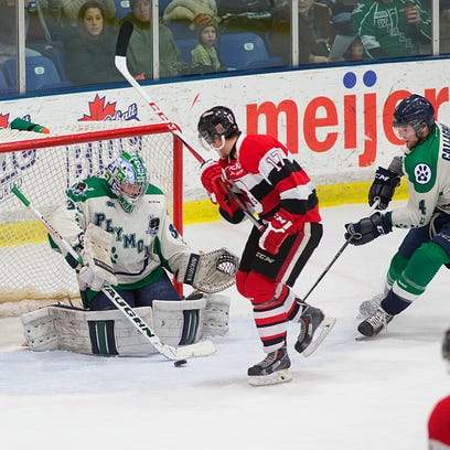 Plymouth Whalers goalie Alex Nedeljkovic makes one