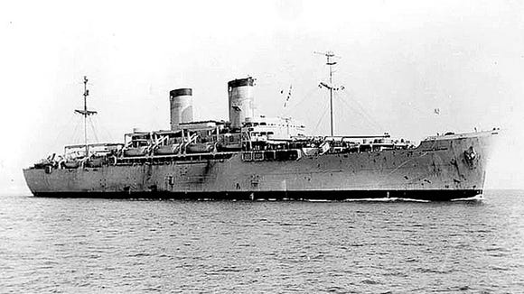 Graf traveled across the Atlantic on the USS General Pope, which encountered rough seas.