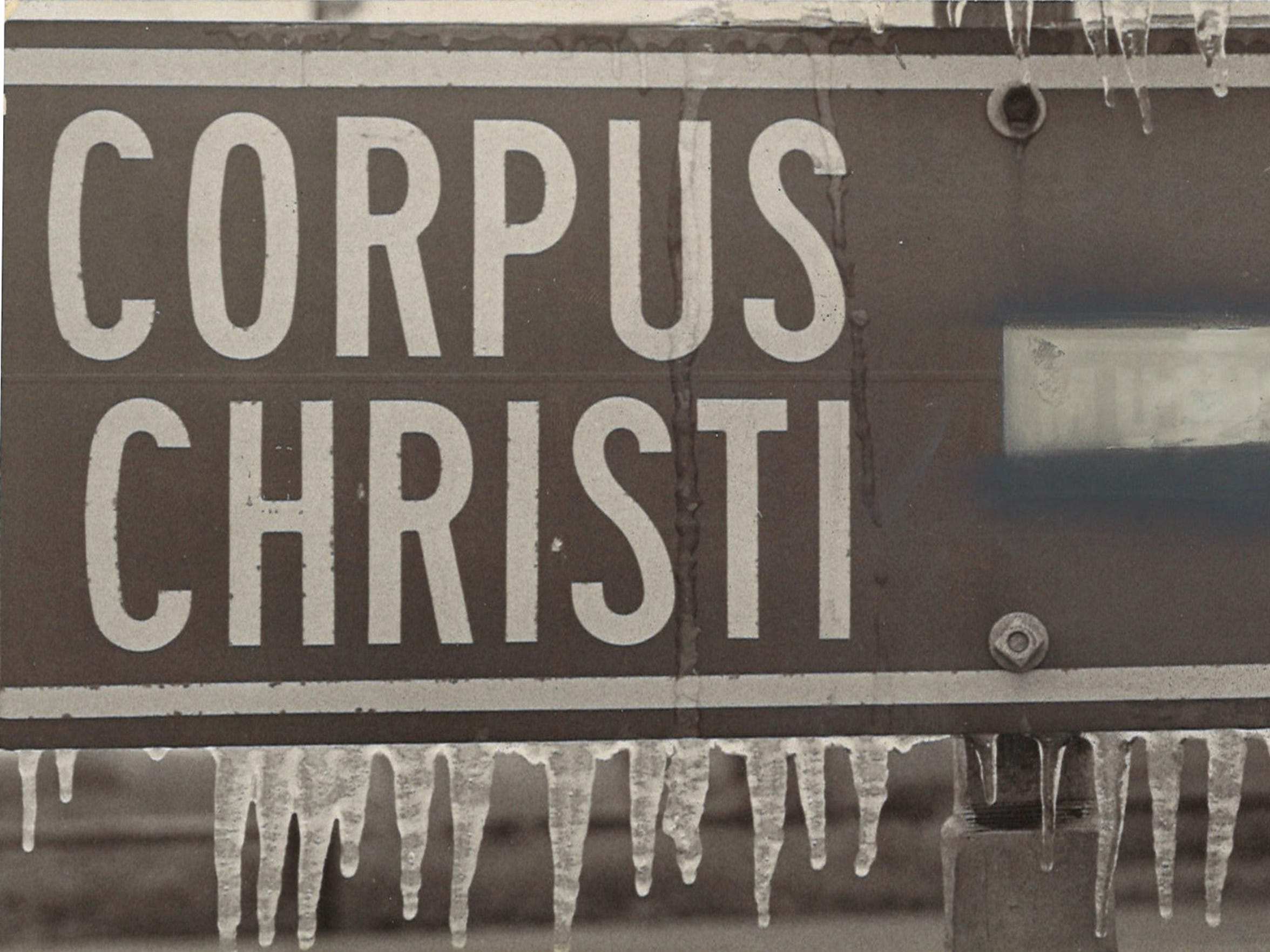 Even Corpus Christi can get freezing weather, as evidenced by this sign covered in ice on Jan. 11, 1973.