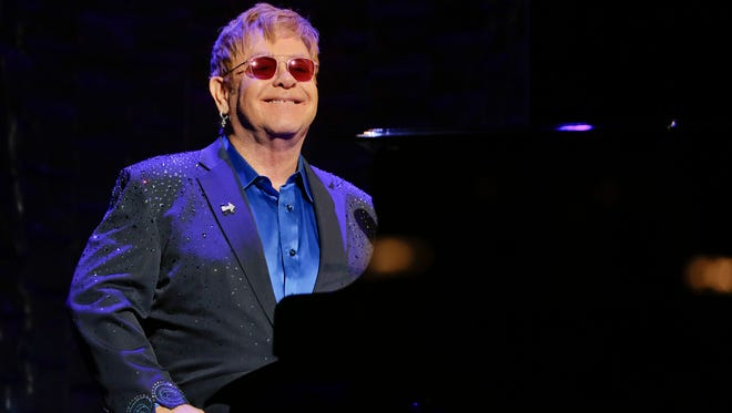 Elton John appears at benefit concert for Hillary Clinton on March 2, 2016, in New York.