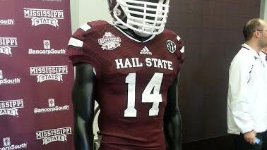 Mississippi State's season-opening jersey is legal due to the team slogan being on the front of the jersey.