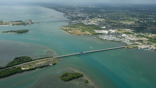 AERIALS, North bridge causeway, South Bridge Causeway, Indian River Lagoon , St Lucie Ccounty, Fort Pierce, Turning basin, Fort Pierce Inlet (ERIC HASERT TREASURE COAST NEWSPAPERS) PHOTOGRAPHED MAY 26, 2015