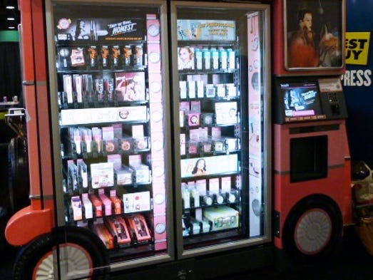 Zoomsystems has been rolling out a fleet of Benefit Cosmetics kiosks for airports designed to look like vintage buses.
