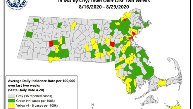 A map from the Massachusetts Department of Public Health.