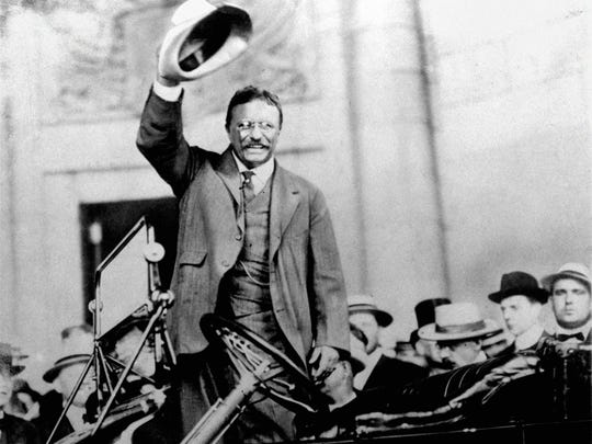 In this 1904 file photo, Theodore Roosevelt campaigns for the presidency.